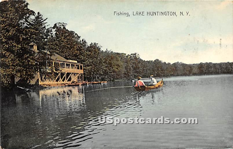Fishing - Lake Huntington, New York NY Postcard
