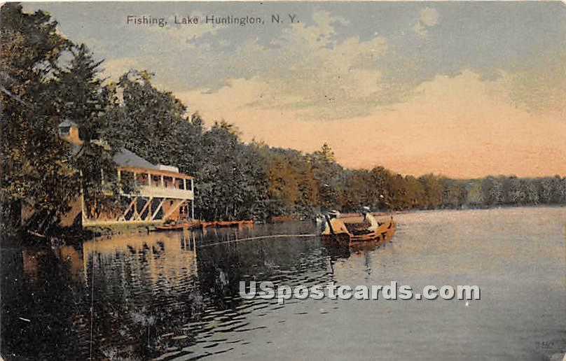 Fishing - Lake Huntington, New York NY Postcard