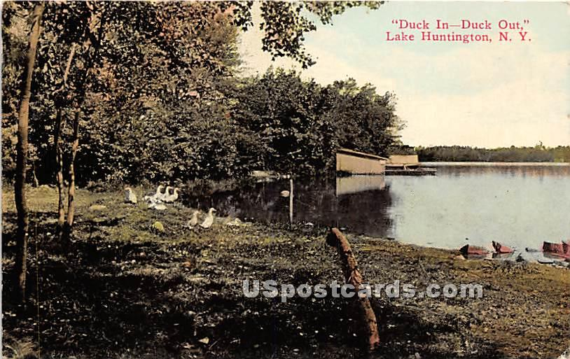 Duck In Duck Out - Lake Huntington, New York NY Postcard