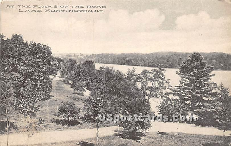 Forks of the Road - Lake Huntington, New York NY Postcard