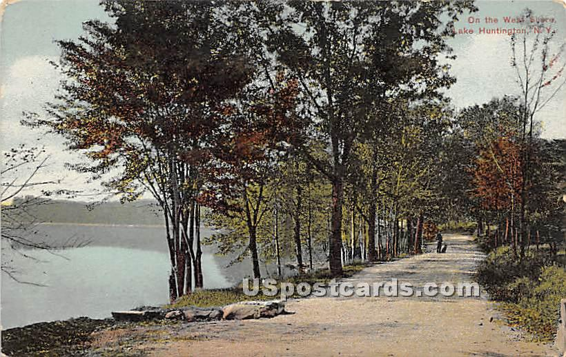 On the West Shore - Lake Huntington, New York NY Postcard