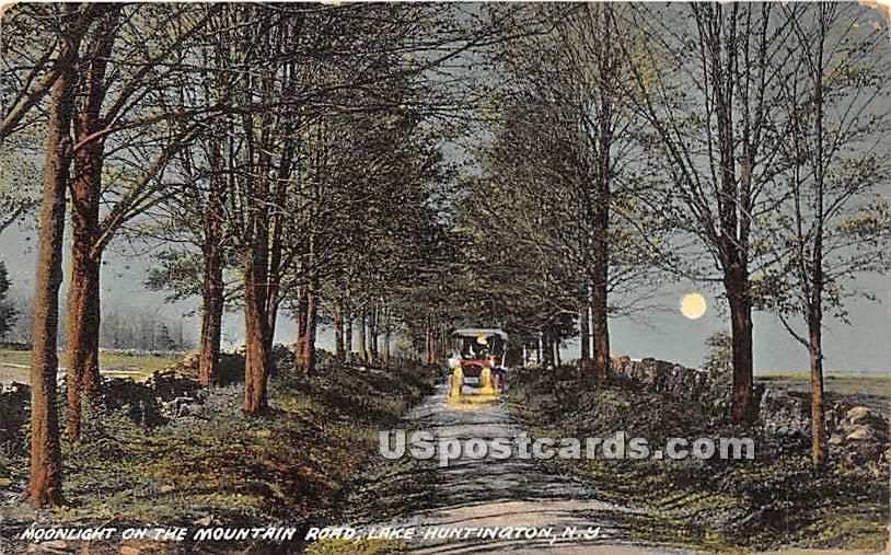 Moonlight on the Mountain Road - Lake Huntington, New York NY Postcard