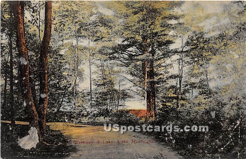 Driveway & Lake - Lake Huntington, New York NY Postcard
