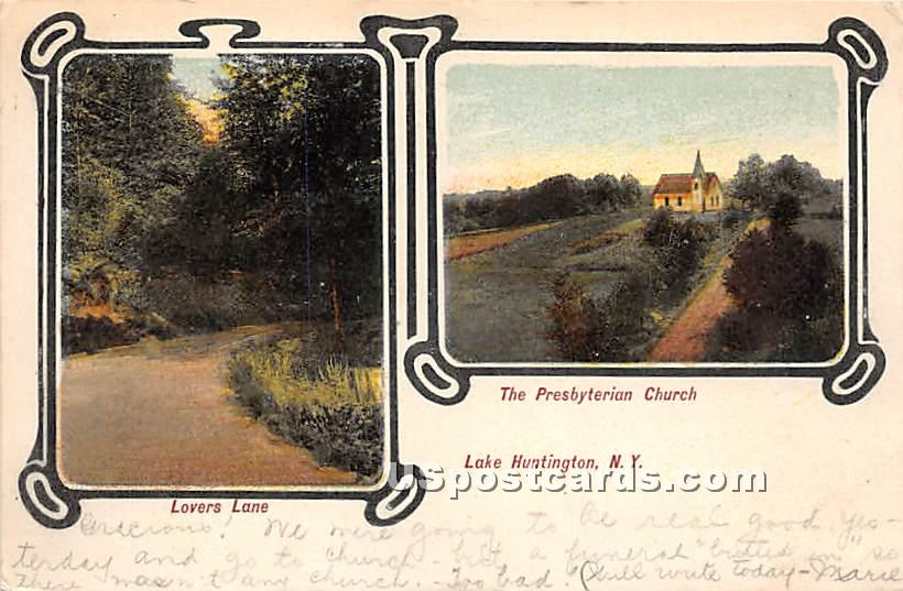 Lovers Lane - Lake Huntington, New York NY Postcard