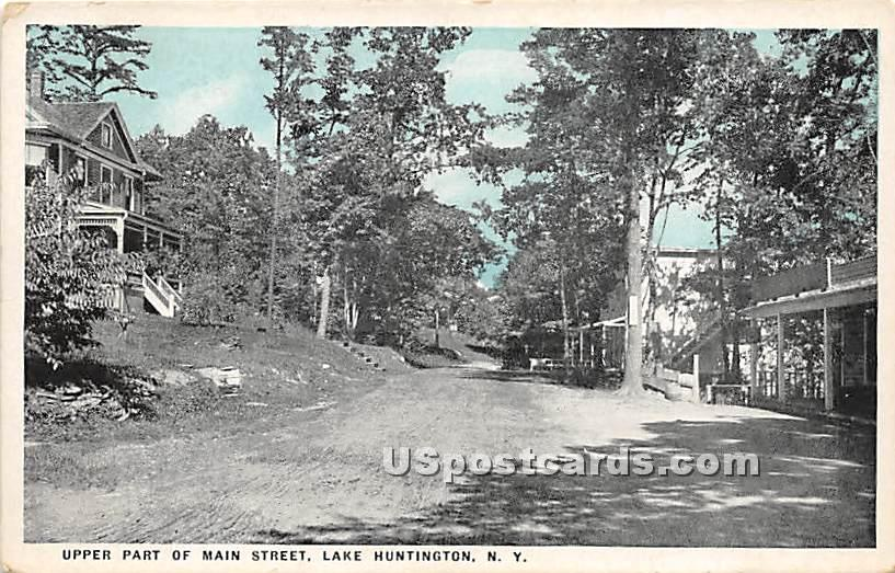 Upper Part of Main Street - Lake Huntington, New York NY Postcard