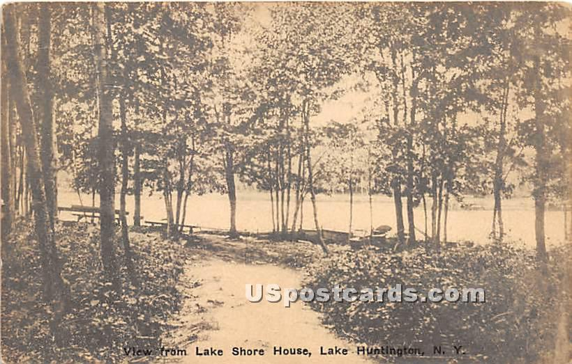View from Lake Shore House - Lake Huntington, New York NY Postcard