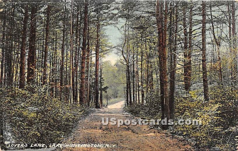 Lovers Lane - Lake Huntington, New York NY Postcard