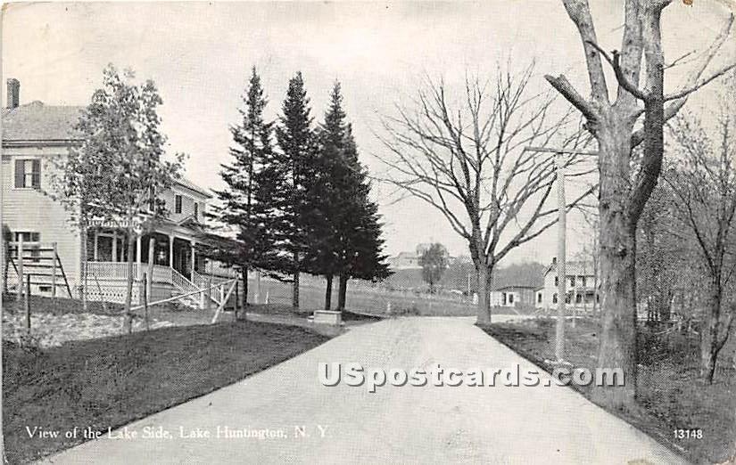 View of the Lake Side - Lake Huntington, New York NY Postcard