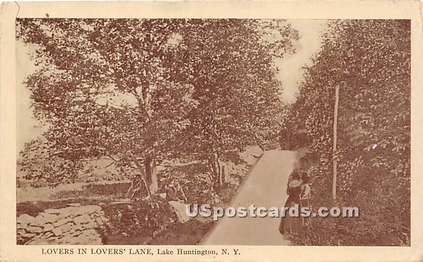 Lovers in Lovers' Lane - Lake Huntington, New York NY Postcard