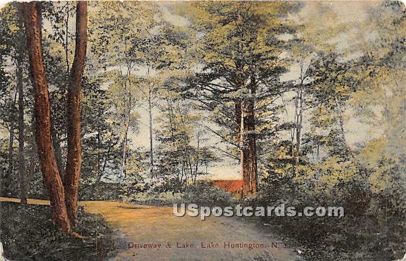 Driveway & Lake - Lake Huntington, New York NY Postcard