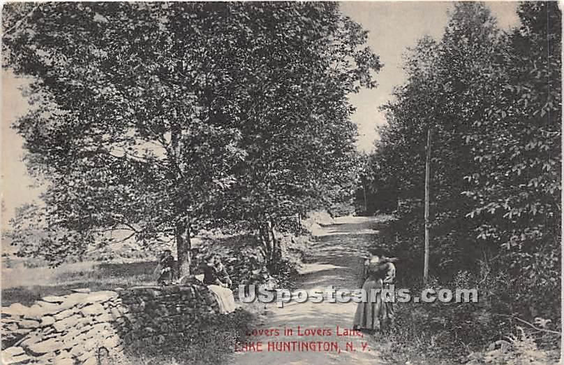 Lovers in Lovers' Lane - Lake Huntington, New York NY Postcard