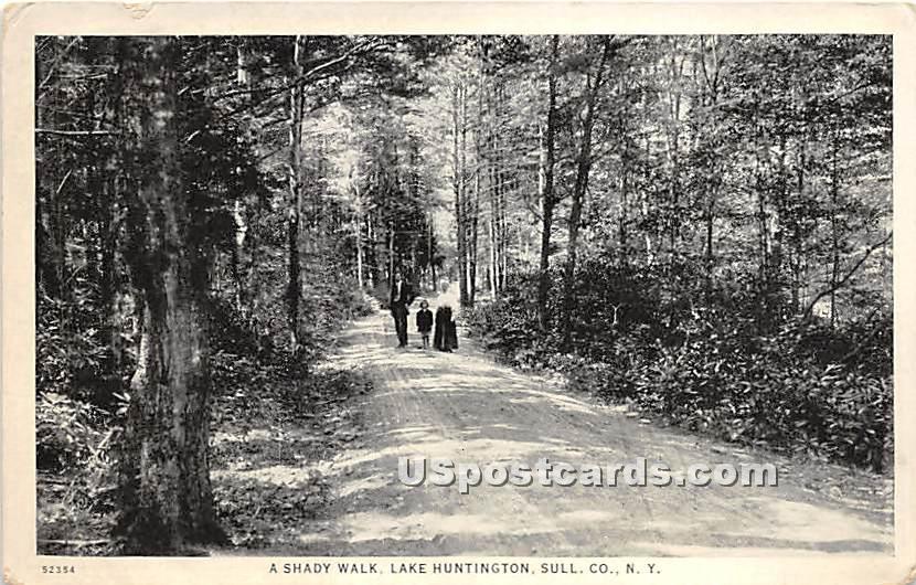 Shady Walk - Lake Huntington, New York NY Postcard