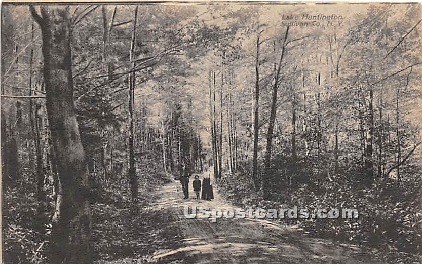 Shady Walk - Lake Huntington, New York NY Postcard