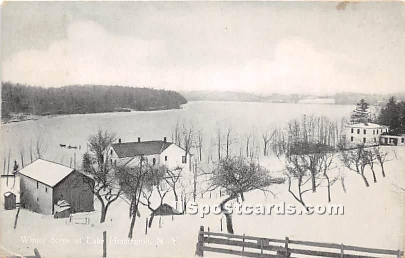 Winter Scene - Lake Huntington, New York NY Postcard