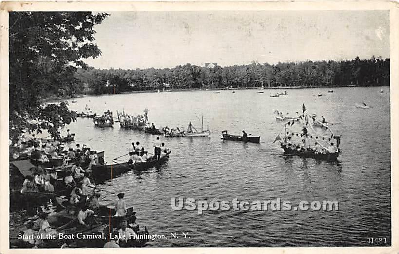 Start of the Boat Carnival - Lake Huntington, New York NY Postcard