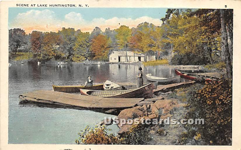 Dock Scene - Lake Huntington, New York NY Postcard