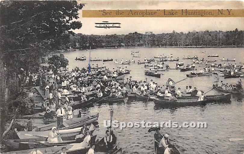 See the Aeroplane - Lake Huntington, New York NY Postcard