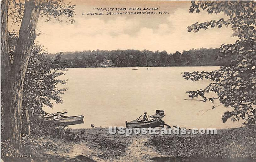 Waiting for Dad - Lake Huntington, New York NY Postcard