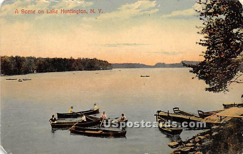 Scene on Lake - Lake Huntington, New York NY Postcard