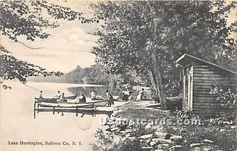 Shore Scene - Lake Huntington, New York NY Postcard