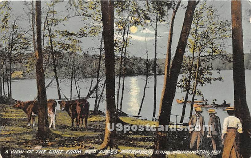View of the Lake from Red Cross Pharmacy - Lake Huntington, New York NY Postcard