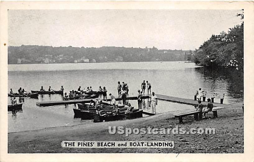 The Pines Beach and Boat Landing - Lake Huntington, New York NY Postcard