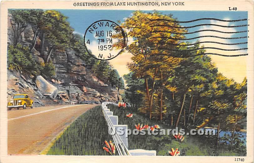 Greetings from - Lake Huntington, New York NY Postcard
