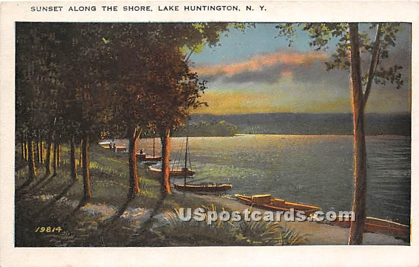 Sunset Along the Shore - Lake Huntington, New York NY Postcard