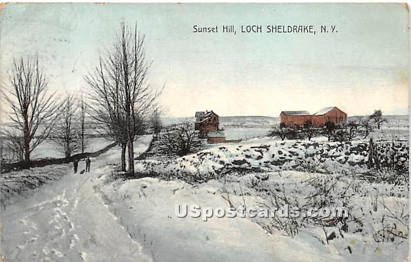 Sunset Hill - Loch Sheldrake, New York NY Postcard