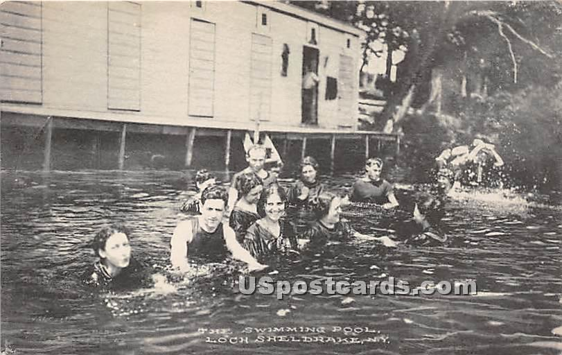 Swimming Pool - Loch Sheldrake, New York NY Postcard