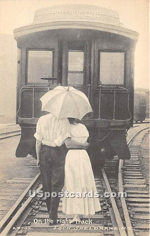 On the Right Track - Loch Sheldrake, New York NY Postcard