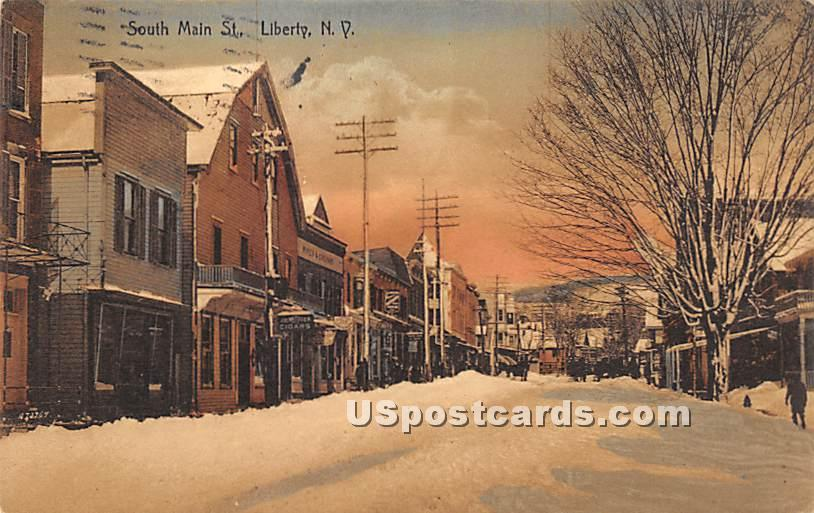 South Main Street - Liberty, New York NY Postcard