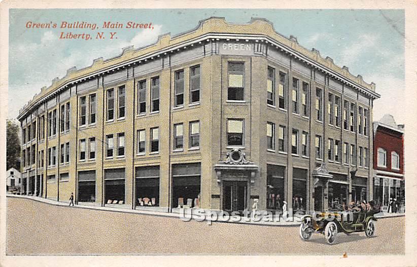 Green's Building - Liberty, New York NY Postcard