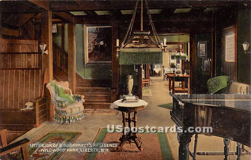 Interior of R Burkhardt's Residence - Liberty, New York NY Postcard