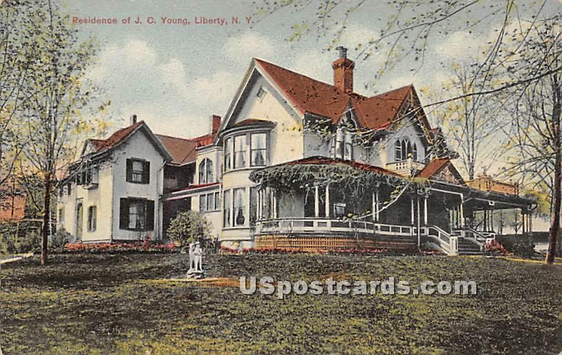 Residence of JC Young - Liberty, New York NY Postcard