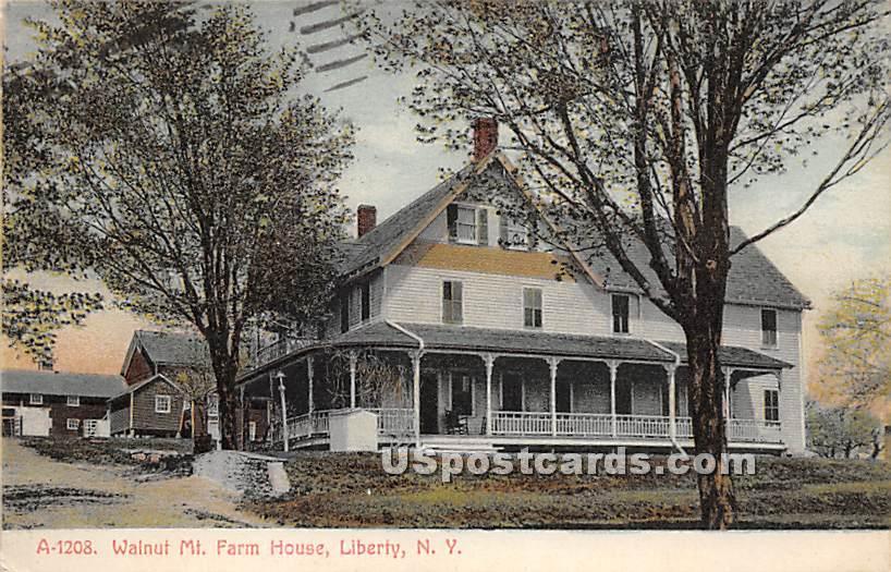 Walnut Mountain Farm House - Liberty, New York NY Postcard