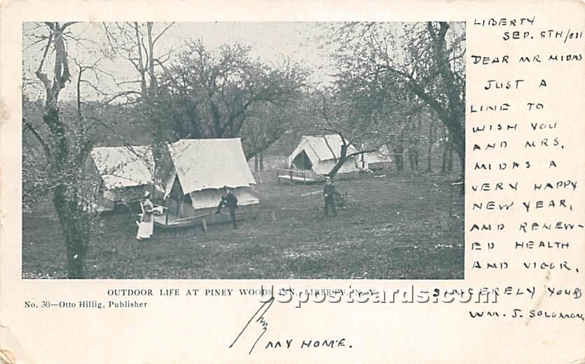 Outdoor Life at Piney Woods Inn - Liberty, New York NY Postcard