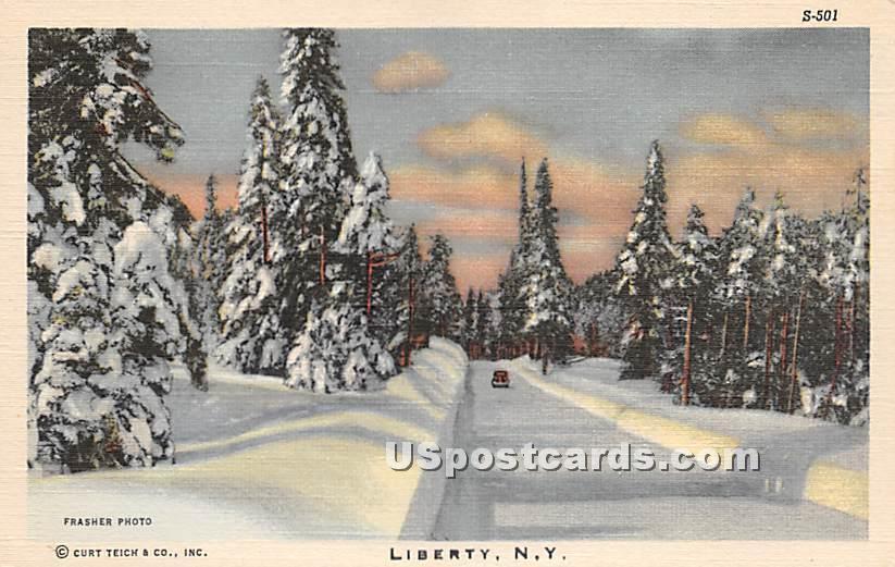 Winter Scene - Liberty, New York NY Postcard