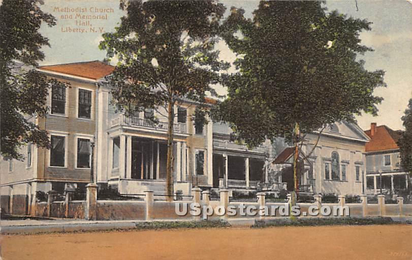 Methodist Church and Memorial Hall - Liberty, New York NY Postcard