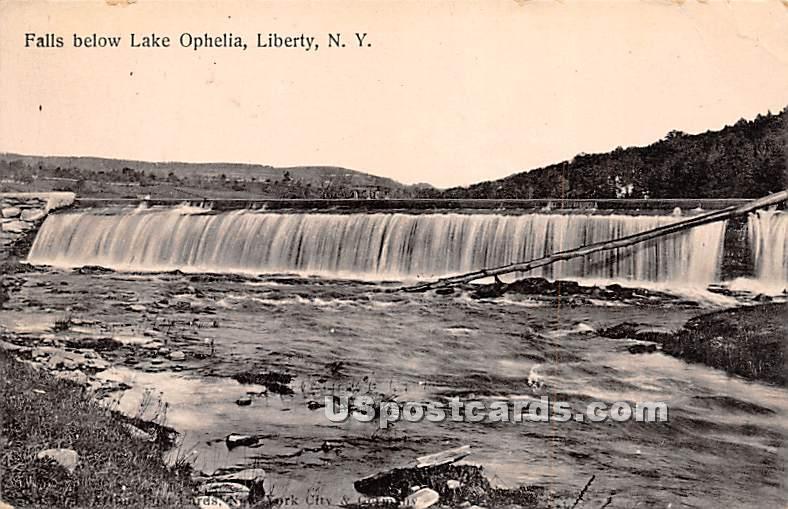 Falls Below Lake Ophelia - Liberty, New York NY Postcard