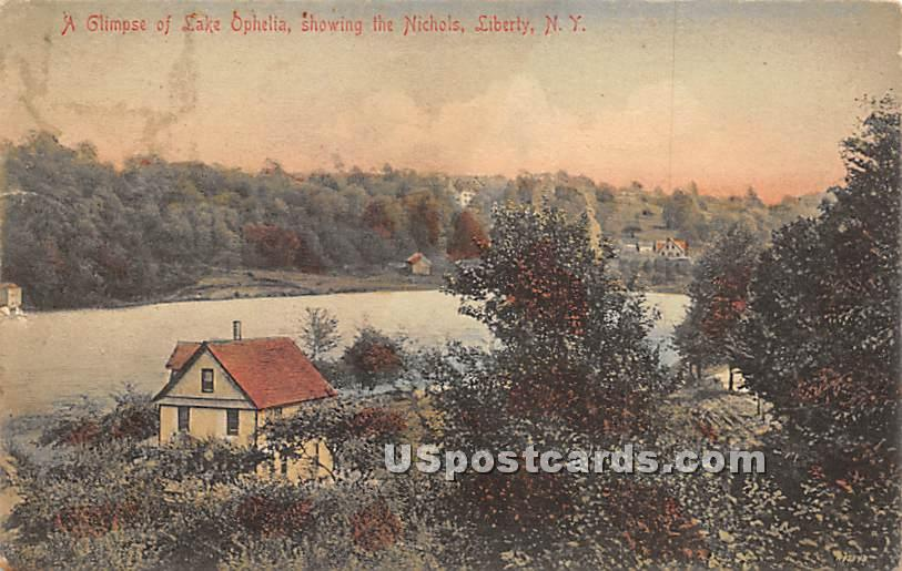 Glimpse of Lake Ophelia - Liberty, New York NY Postcard