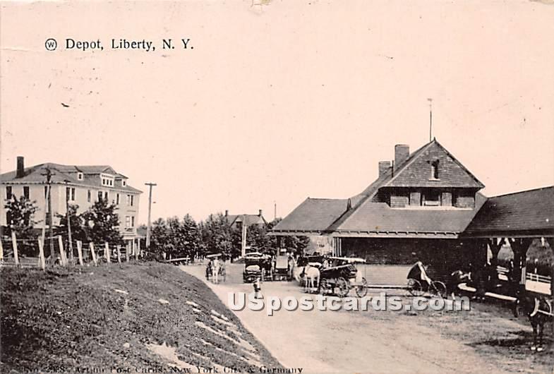 Depot - Liberty, New York NY Postcard