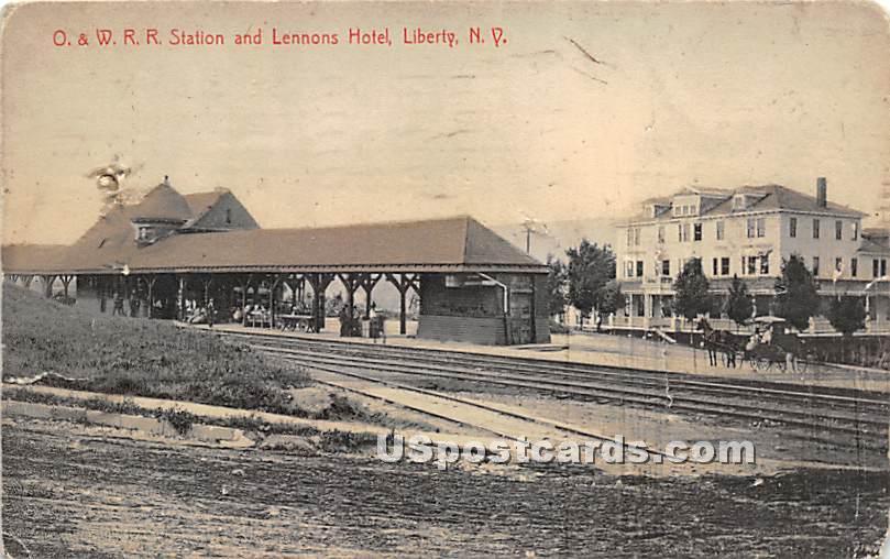 O & W RR Station - Liberty, New York NY Postcard