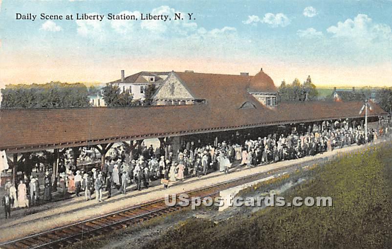 Daily Scene at Liberty Station - New York NY Postcard