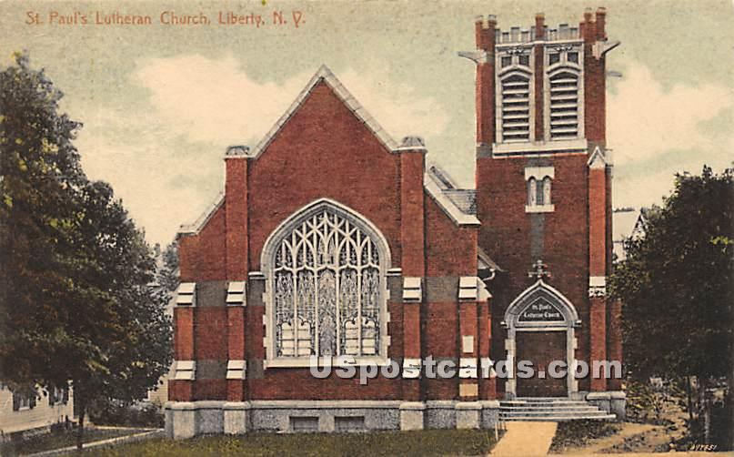 St Paul's Lutheran Church - Liberty, New York NY Postcard