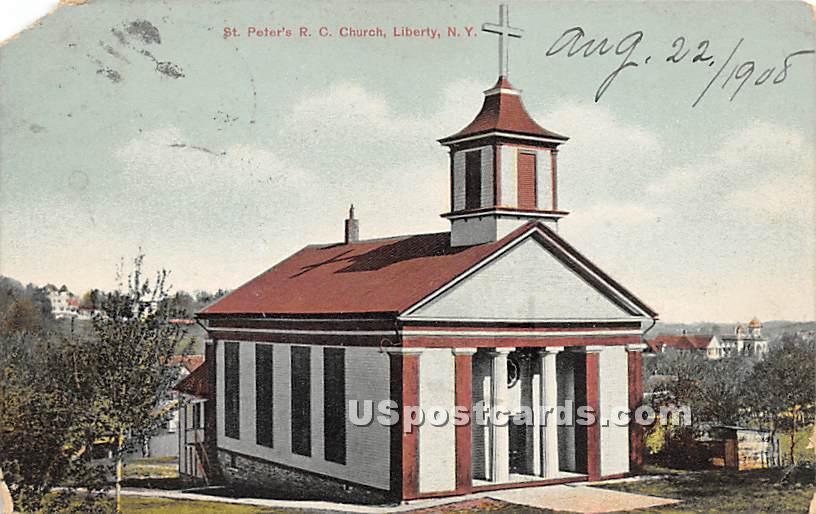 St Peter's R C Church - Liberty, New York NY Postcard