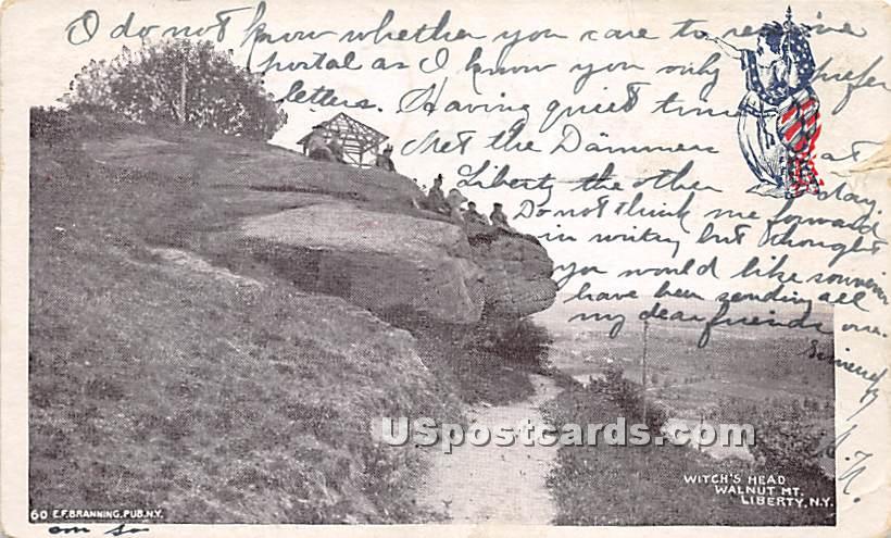Witch's Head - Liberty, New York NY Postcard