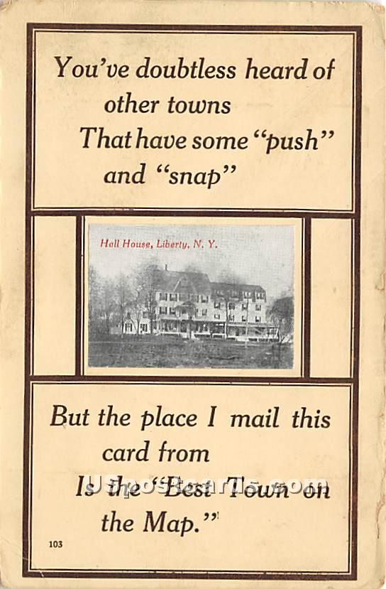 Hall House - Liberty, New York NY Postcard