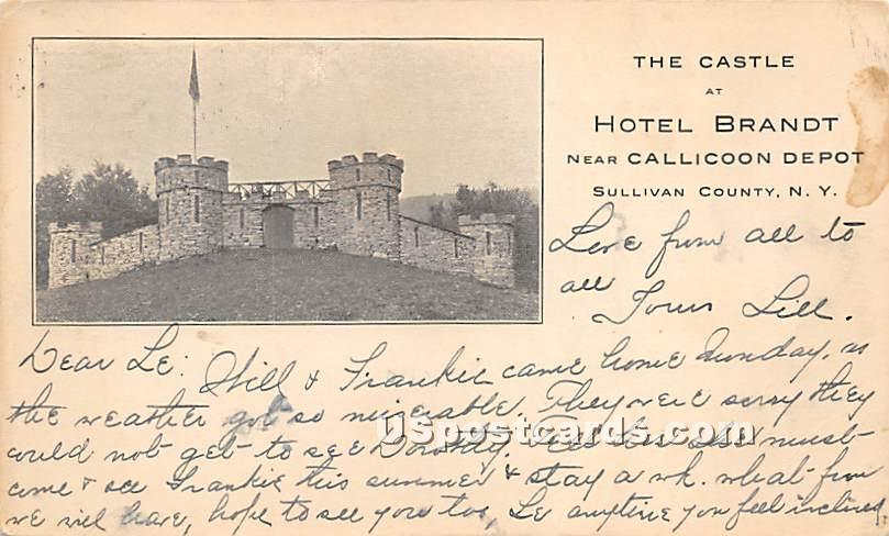 The Castle at Hotel Brandt - Liberty, New York NY Postcard