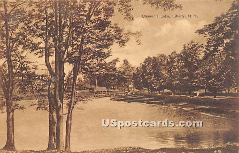 Clements Lake - Liberty, New York NY Postcard